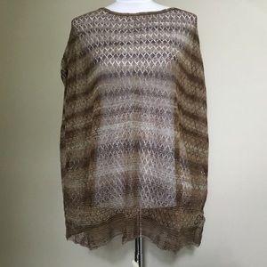 NWT ZARA KNIT brown stripe lace sweater poncho S
